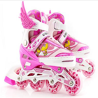 子供用 インラインスケート アンチスリップ 耐摩耗性 調整可能 LEDライト ブルー/ピンク