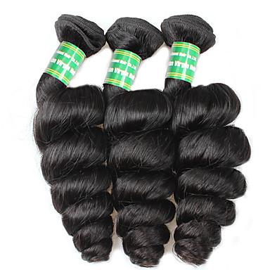 3 pakker Brasiliansk hår Løse bølger Ubehandlet hår Menneskehår Vevet Hårvever med menneskehår Hairextensions med menneskehår