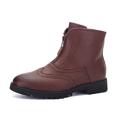 Herre-Lær-Flat hælStøvler-Friluft Kontor og arbeid Fritid-Svart Mørkebrun