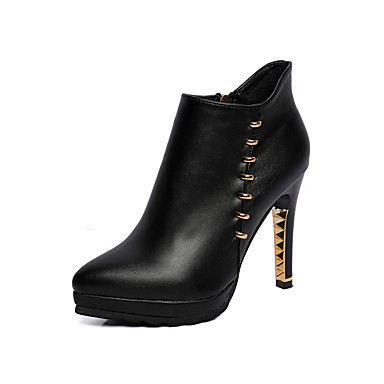 Damen Schuhe Kunstleder Frühling Herbst Komfort Modische Stiefel Stiefeletten Stiefel Stöckelabsatz Spitze Zehe Reißverschluss für Kleid