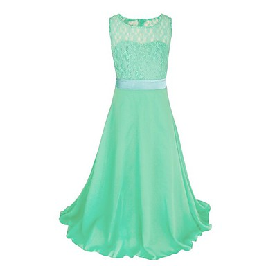 cheap Gilrs' Party Dresses-Kids Girls' Party Solid Colored Lace Sleeveless Maxi Polyester Dress Pink