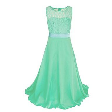 Χαμηλού Κόστους Φορέματα για κορίτσια-Παιδιά Κοριτσίστικα Πάρτι Μονόχρωμο Δαντέλα Αμάνικο Μακρύ Πολυεστέρας Φόρεμα Ροζ