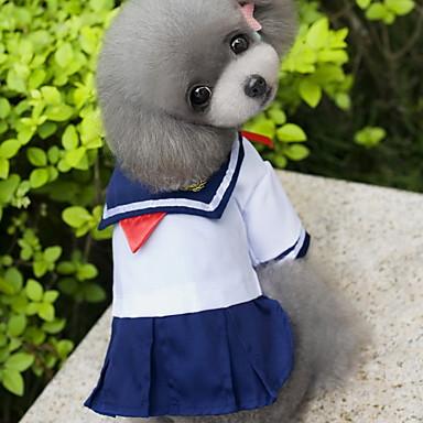 Katze Hund Kostüme Kleider Hundekleidung Seefahrer Blau Baumwolle Kostüm Für Frühling & Herbst Sommer Damen Cosplay Modisch