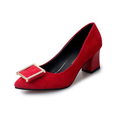 Naiset Kengät PU Kevät Syksy Comfort Korkokengät Matala korko Pyöreä kärkinen Käyttötarkoitus Kausaliteetti Musta Punainen Pinkki