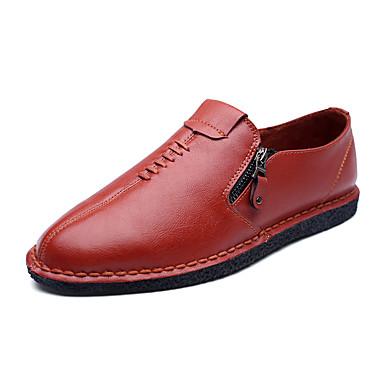 Miehet kengät Tekonahka Kevät Kesä Syksy Talvi Comfort Mokkasiinit Käyttötarkoitus Häät Juhlat Musta Punainen