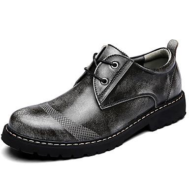 Hombre Los zapatos de cuero Cuero de Napa Primavera / Verano / Otoño Confort Oxfords Gris / Marrón Claro