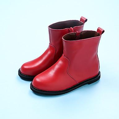 Bootsit-Tasapohja-Tyttöjen-Nahka-Musta Punainen-Rento-Muut