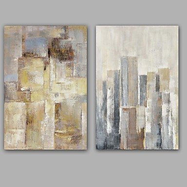 Håndmalte Abstrakt olje~~POS=TRUNC malerier~~POS=HEADCOMP,Moderne / Klassisk To Paneler Lerret Hang malte oljemaleri For Hjem Dekor
