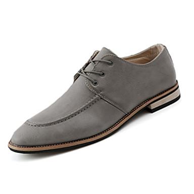 Miehet kengät PU Syksy Talvi Comfort Oxford-kengät Solmittavat Käyttötarkoitus Kausaliteetti Musta Harmaa Tumman ruskea