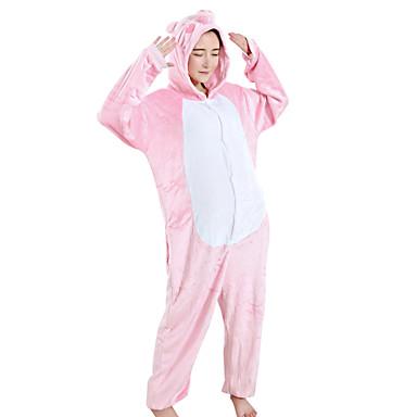 Kigurumi-pysjamas Grisunge / gris Onesie-pysjamas Kostume Fløyel Mink Rosa Cosplay Til Voksne Pysjamas med dyremotiv Tegnefilm Halloween