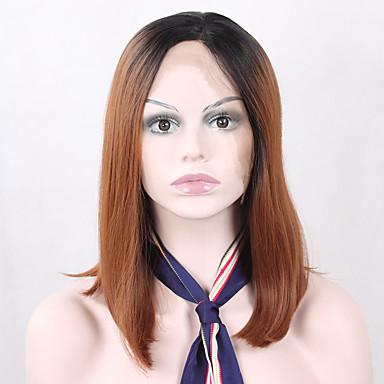 Perucas sintéticas Mulheres Liso Marrom Corte Bob Cabelo Sintético Riscas Naturais Marrom Peruca Frente de Malha Black / Dark Auburn