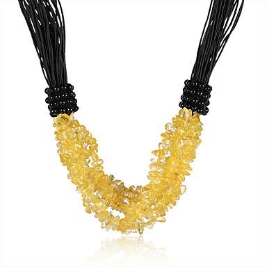 Mulheres Cristal Gargantilhas - Cristal, Pele Vintage, Boêmio, Boho Amarelo Colar Jóias Para Festa, Diário, Casual