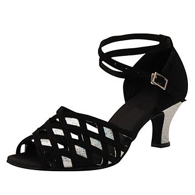 Női Latin cipők Selyem Szandál Fénylő Kubai sarok Személyre szabható Dance Shoes Fekete / Teljesítmény / Bőr