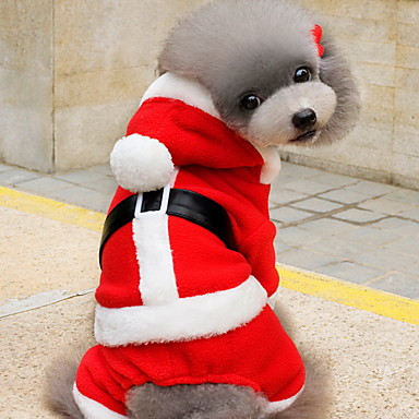 Kissa Koira Asut Hupparit Koiran vaatteet Sievä Joulu Yhtenäinen Punainen Asu Lemmikit