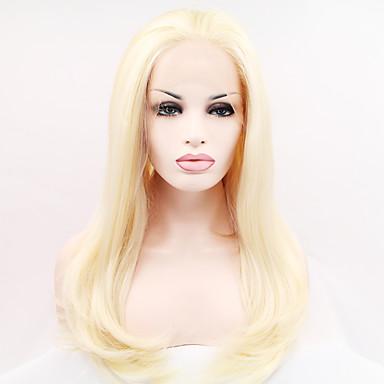 ieftine Peruci Dantelă Sintetice-Lănțișoare frontale din sintetice Ondulee Naturale Stil Față din Dantelă Perucă înălbitor Blonde Păr Sintetic Pentru femei Linia naturală de păr Perucă Lung / Foarte lung