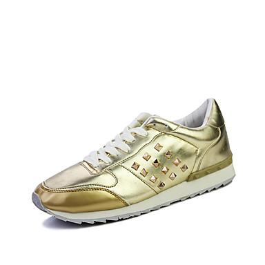 Miehet kengät Tyll PU Kevät Kesä Syksy Talvi Comfort Urheilukengät Kävely Niiteillä Käyttötarkoitus Kausaliteetti Kulta Valkoinen Musta