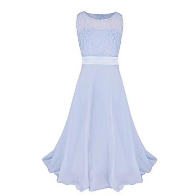 Χαμηλού Κόστους Ρούχα για Κορίτσια-Παιδιά Κοριτσίστικα Πάρτι Μονόχρωμο Δαντέλα Αμάνικο Μακρύ Πολυεστέρας Φόρεμα Ροζ
