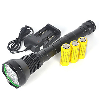 LED懐中電灯 LED 11000 lm 1 モード Cree XM-L T6 バッテリー&チャージャー付き 滑り止めグリップ スーパーライト キャンプ/ハイキング/ケイビング