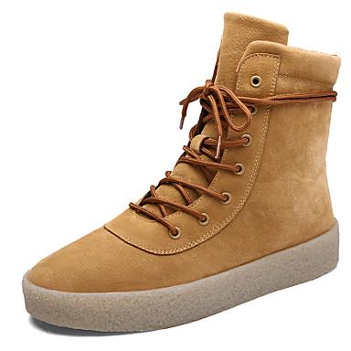 Miehet kengät Synteettinen Kevät Kesä Syksy Talvi Comfort Muotisaappaat Nilkkuri Bootsit Solmittavat Käyttötarkoitus Kausaliteetti Musta