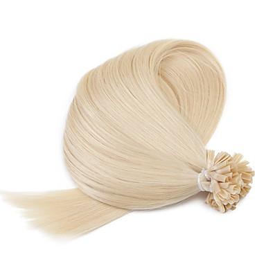 Fusion Chaude / Pré Collées Extensions de cheveux humains Cheveux humains Droite 50 brins / Paquet 20 pouces