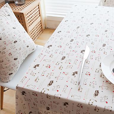 方形 パターン柄 動物 テーブルクロス , リネン 材料 ホテルのダイニングテーブル 表Dceoration