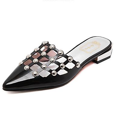 Mujer Zapatos PU Primavera verano Talón Descubierto Sandalias Tacón Plano Negro / Beige 11ln1MK