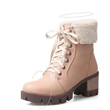 Dame Sko PU Vinter Komfort / Trendy støvler Støvler Tykk hæl Rund Tå Oransje / Grønn / Mandel