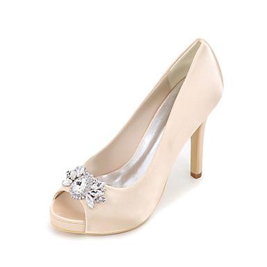 Mulheres Sapatos Seda Primavera Verão Saltos Salto Agulha Plataforma Peep Toe Pedrarias para Casamento Festas & Noite Prateado Vermelho