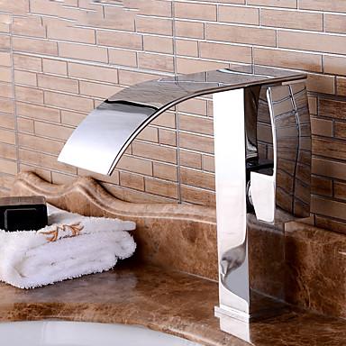 アンティーク アールデコ調/レトロ風 近代の センターセット プレリンス 滝状吐水タイプ 組み合わせ式 with  セラミックバルブ シングルハンドル二つの穴 for  クロム , バスルームのシンクの蛇口