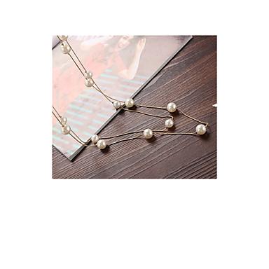 Dame Lang Halskjede Perle Legering Geometrisk Imitert Perle Mote kostyme smykker Smykker Til Daglig Avslappet