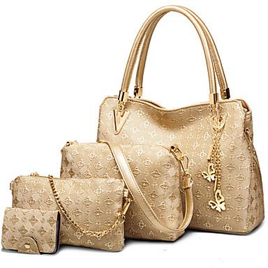 女性用 バッグ PU ジッパ- バッグセット 4個の財布セット ビーズ のために フォーマル オフィス&キャリア アウトドア オールシーズン ホワイト ブラック ブルー ゴールデン