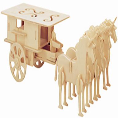 voordelige 3D-puzzels-Speelgoedauto's Houten puzzels Koets Beroemd gebouw Paard professioneel niveau Hout 1 pcs Jongens Meisjes Speeltjes Geschenk