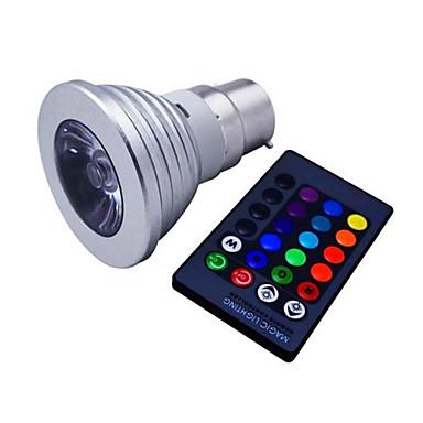 110lm E14 GU10 E26 / E27 B22 LED-spotpærer MR16 1 LED perler Høyeffekts-LED Mulighet for demping Dekorativ Fjernstyrt RGB 85-265V