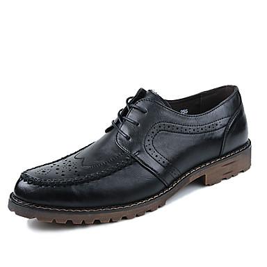 メンズ 靴 PUレザー 春 秋 コンフォートシューズ オックスフォードシューズ 編み上げ 用途 カジュアル ブラック ダークブラウン レッド