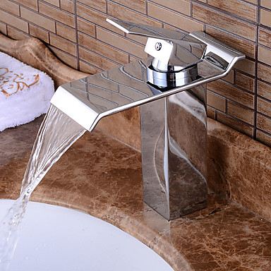 Kylpyhuone Sink hana - Esihuuhtelusuihku / Vesiputous / Laajallle ulottuva Kromi Integroitu Yksi kahva kaksi reikää