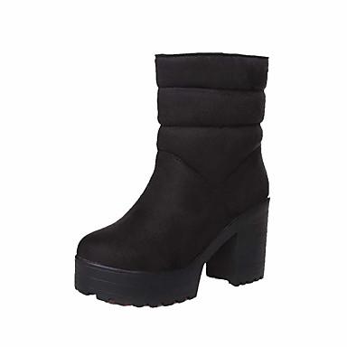 Dame-Semsket lær-Tykk hæl-Komfort-Støvler-Kontor og arbeid Formell Fritid-Svart Blå Rød