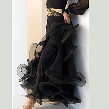 ボールルームダンス ボトムズ 女性用 性能 スパンデックス ドレープ ローウエスト スカート