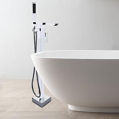 現代風 床取付け ハンドシャワーは含まれている / 床置き with  セラミックバルブ シングルハンドルつの穴 for  クロム , 浴槽用水栓