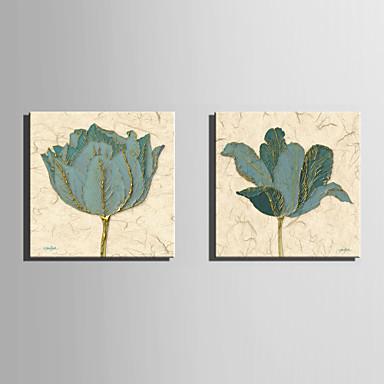 花柄/植物の 欧風, 2枚 キャンバス 方形 プリント 壁の装飾 ホームデコレーション