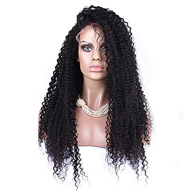 Peluca Lace Front Sintéticas Afro / Kinky Curly Pelo sintético Entradas Naturales Negro Peluca Mujer Encaje Frontal Negro Natural