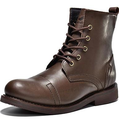 Hombre Fashion Boots Cuero de Napa Primavera / Verano / Otoño Confort / Botas Camperas / Botas de Moda Botas Negro / Morrón Oscuro / Fiesta y Noche