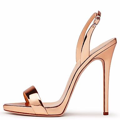 hesapli Kadın Sandaletleri-Kadın's Sandaletler Stiletto Topuk Açık Uçlu Toka PU Topuktan Bağlamalı Bahar / Yaz Kırmzı / Çıplak / Açık Kahverengi / Düğün / Parti ve Gece / Parti ve Gece / EU40