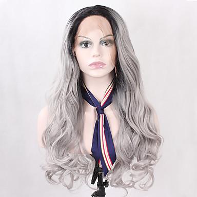 Damen Synthetische Lace Front Perücken Lang Wellen Grau Schwarz Gefärbte Haarspitzen (Ombré Hair) Natürlicher Haaransatz Natürliche