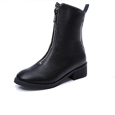 Dame-Lær-Tykk hæl-Komfort-Støvler-Fritid-Svart