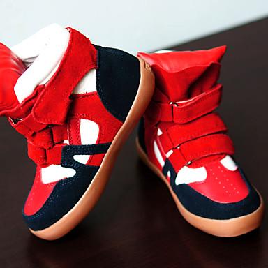 女の子 靴 レザー 秋 冬 コンフォートシューズ スニーカー ウォーキング フラットヒール 面ファスナー 用途 カジュアル ブラック レッド