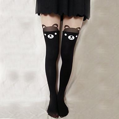 Socks / Long Stockings Thigh High Socks Sweet Lolita Dress Lolita Lolita Women's Lolita Accessories Print Bear Stockings Velvet