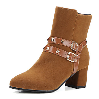 Dame-Kunstlær-Tykk hælStøvler-Formell Fritid-Svart Gul Rød
