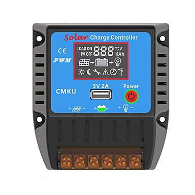 PWM 12/24V10A LCD USB Temperaturkompensasjon Batteri Auto Regulator Solar Charge Controller Med Komplett Gjerder