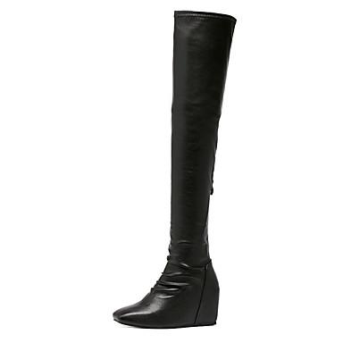 レディース 靴 レザーレット 冬 ファッションブーツ ブーツ ウェッジヒール スクエアトゥ 用途 ドレスシューズ ブラック