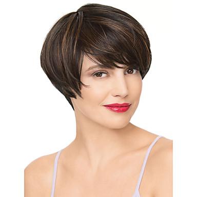 Perucas sintéticas Mulheres Liso Marrom Cabelo Sintético Marrom Peruca Sem Touca Preto / Medium Auburn AISI HAIR